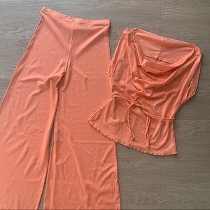 Vintage 1970s Tangerine Jumpsuit Pants Blouse Set
